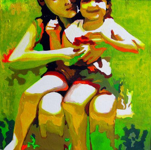 Menina no colo. Acrílico sobre tela. Acrylic on canvas #art #artists #canvas #pencil