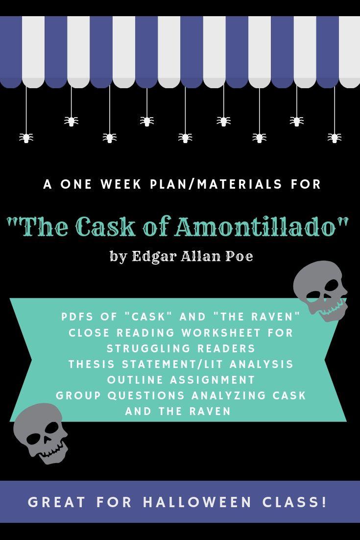 The Cask Of Amontillado One Week Plan Materials Teaching Poe The Cask Of Amontillado Struggling Readers