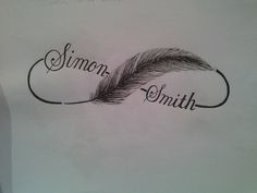 infinity symbol with feather and kids' names