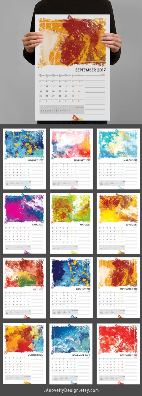 Watercolor A3 calendar planner Abstract by JAnoveltyDeSign on Etsy
