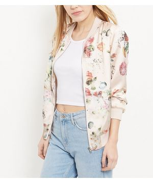 Pink Floral Print Bomber Jacket   New Look