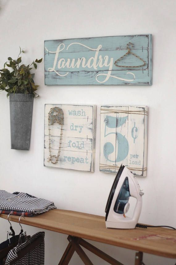Laundry Room Sign 3 Pc Set Laundry Room Decor Wood Laundry Sign