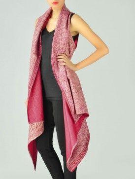 Pink Upcycled Silk-Saree Kantha Shrug (Free Size)