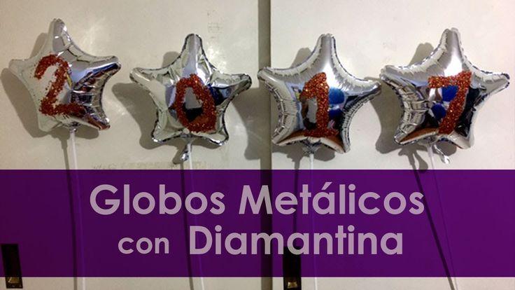 globos metálicos con números en diamantina | idea para graduaciones