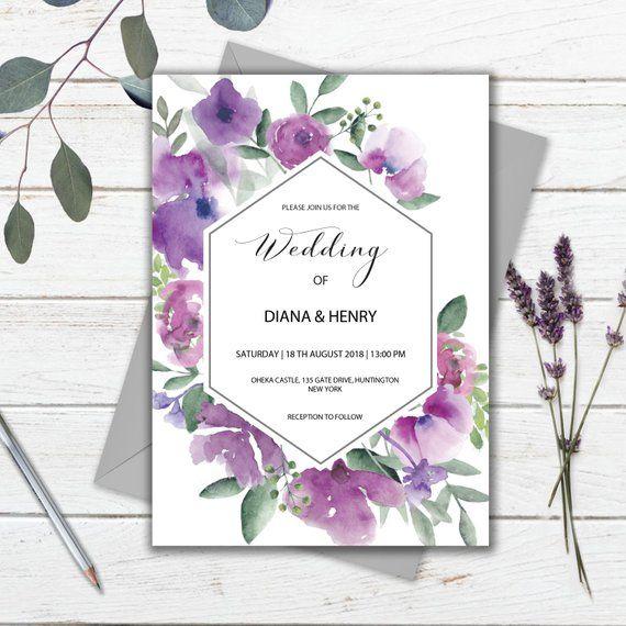 Purple Floral Wedding Invitation Template Printable Instant Download Wedding Invitation Templates Purple Wedding Invitations Diy Wedding Invitations