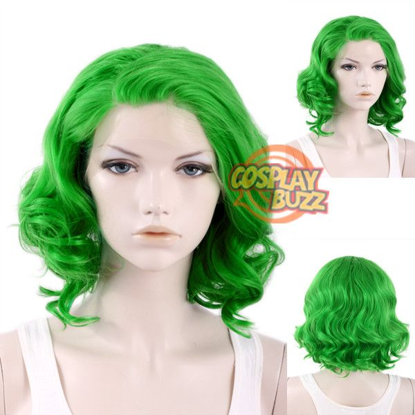 """11"""" Short Curly Green Lace Front Synthetic Hair Wig LF315 - CosplayBuzz Martha…"""