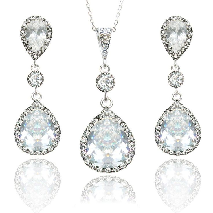 LUXE BRIDAL SET by Miss Amy / Handmade with beautiful Cubic Zirconia encrusted pendants and .925 Sterling Silver posts / Price AUD $98 / Shop via www.missamy.com.au