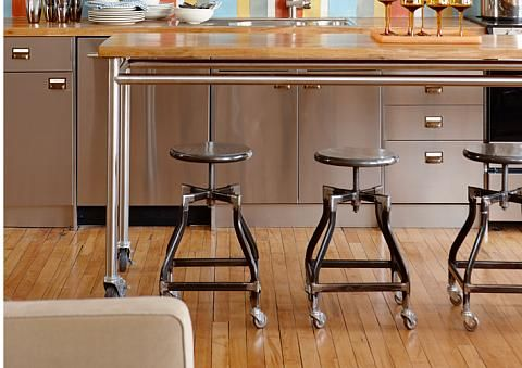 Inexpensive Island  As island is a desirable feature in any kitchen, but building additional cabinetry can get pricey. For the most economical way to add extra counter space and some seating to your kitchen, consider ordering a prep table from a restaurant supply company. Made of stainless steel with sturdy wheels, this surface can easily be relocated for entertaining.