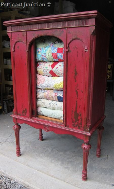 Painted cabinet using Miss Mustard Seed's Milk Paint in Tricycle, Petticoat Junktion..Love this cabinet!