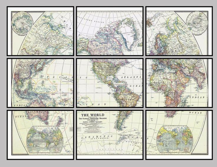 Parçalı çerçeve, eski dünya haritası. #multiframe #worldmap #çerçeve #vintage #harita