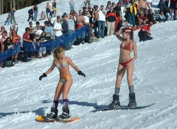 illicit snowboarding: Snowboard girls in bikinis