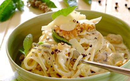 Creamy Mushroom, Walnut & Parmesan Linguini