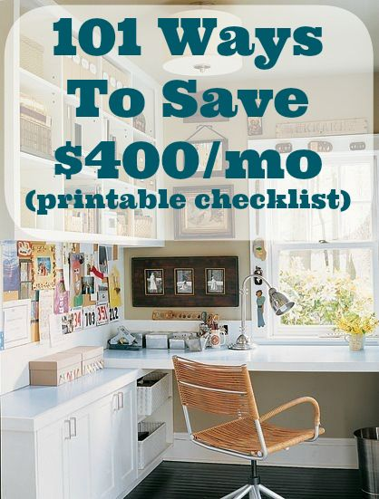101 Ways To Save $400 A Month (checklist printable) | DIY Cozy Home