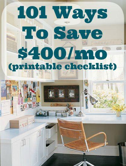 101 Ways To Save $400 A Month (checklist printable) | DIY Cozy Home