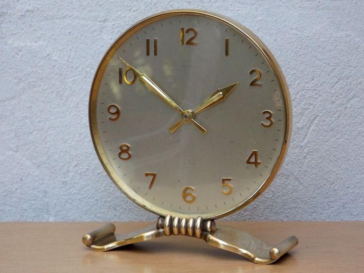 Semca Round Brass & Silver 8 Jewel Modern Mantel Clock