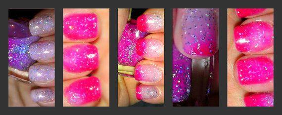 Color Changing Glitter Nail Polish - Mood Nail Polish - CHERRY BLOSSOM - Custom Blended Polish/Lacquer - 0.5 oz Full Sized Bottle