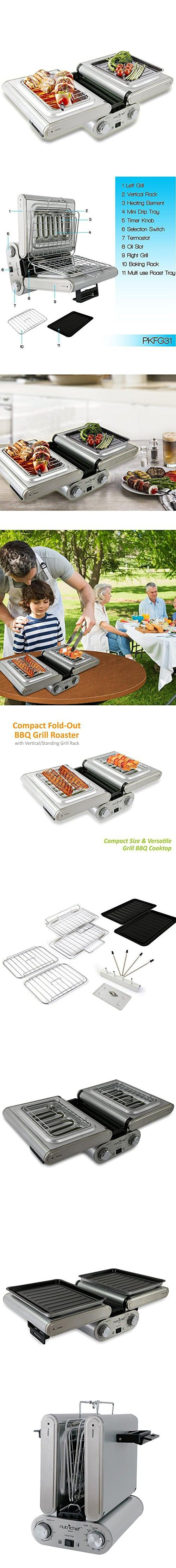 NutriChef Cooking Grill | Fold-Out Indoor/Outdoor Electric Griddle with Vertical Grill Rack | For Fish, Steak, Skewers | Tabletop Safe | Teflon Tray | Drip Pan | Rotary Timer - Max Temp 464F (PKFG31)