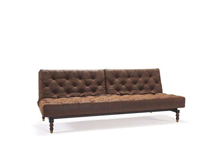 Sofa Oldschool brązowa 461 nogi ciemne drewno Retro — Sofy INNOVATION iStyle — sfmeble.pl