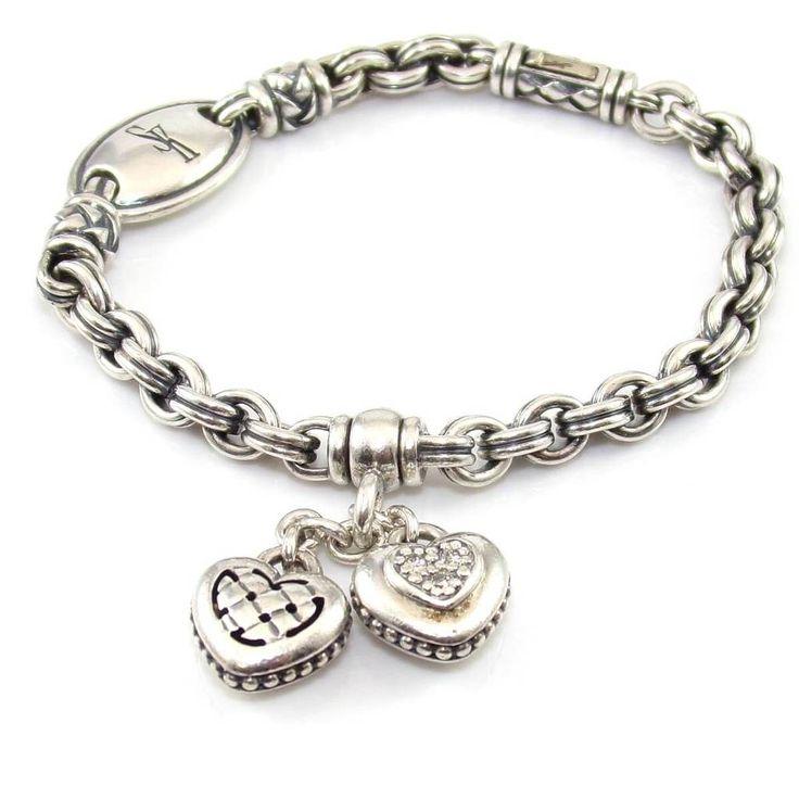Scott Kay Sterling Silver Natural Diamond Heart Charm Dangle Bracelet 7.25