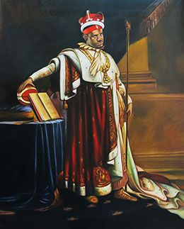 King Lebron James   This 80*100cm portrait of Lebron as Napoleon I in coronation robes originally painted by Anne-Louis Girodet de Roussy Trioson would make a lovely addition to any Lebron's fan.