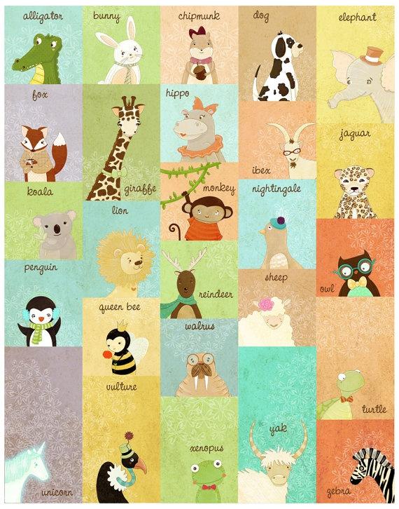 Children's Wall Art Print - Animal ABC Large Alphabet Patchwork Print - Nursery Decor Kids Room