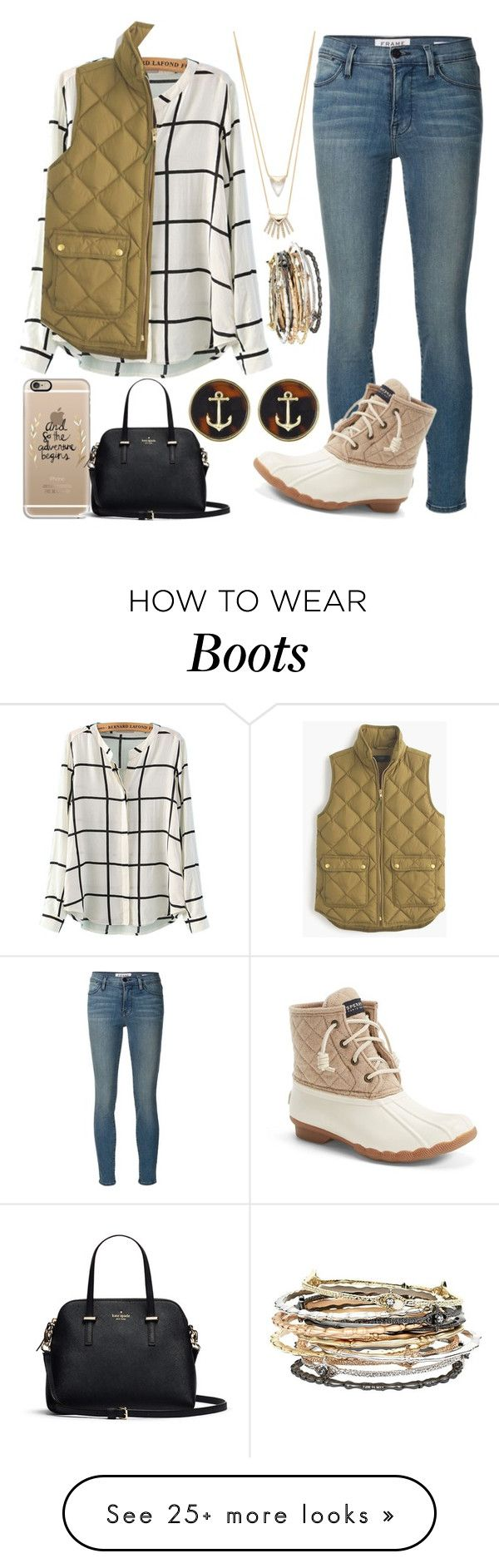 """{duck boots gone classy} contest entry!"" by lilianndevos on Polyvore featuring Kendra Scott, Frame Denim, Sperry Top-Sider, WithChic, Alexis Bittar, J.Crew, Fornash, Casetify, women's clothing and women's fashion"