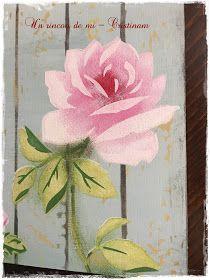 Un rincón de mi: Rosa grande...Paso a paso como pintar flores con stencil de capas...