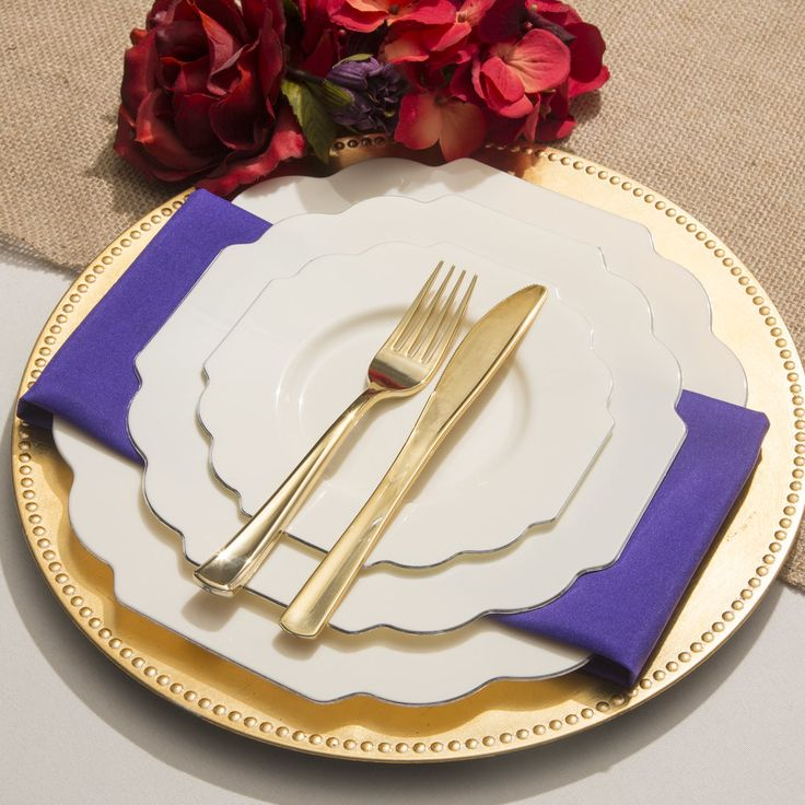 Baroque bone plastic dinner plates smarty had a party