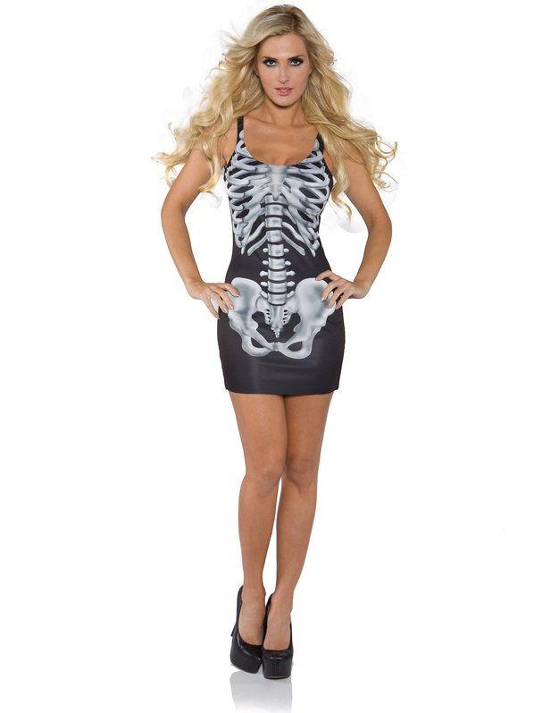 Women's Sexy Bones Tank Dress Costume