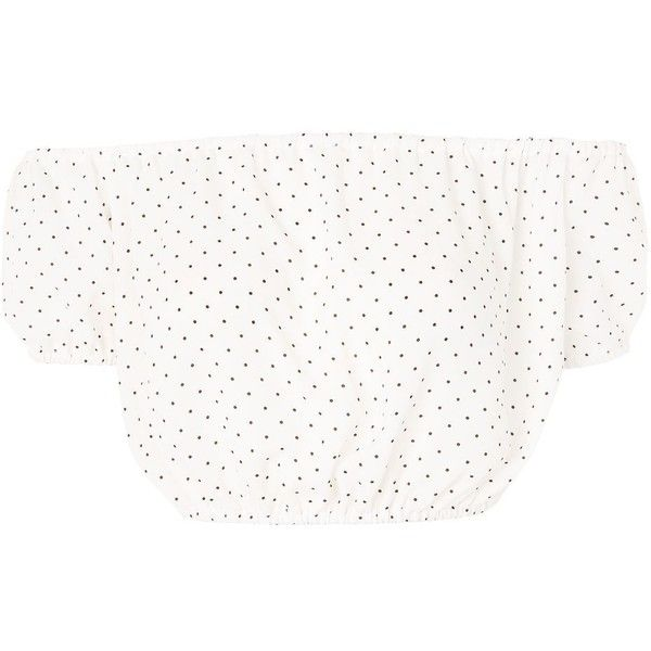 Polka Dot Bardot Crop Top by Oh My Love (453.640 IDR) ❤ liked on Polyvore featuring tops, white, polka dot top, white summer tops, cut-out crop tops, cropped tops and dot top