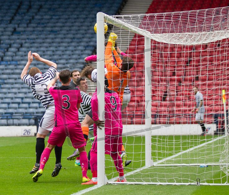 Airdrieonians' keeper Rohan Ferguson deals with a cross during the Ladbrokes League One game between Queen's Park and Airdrieonians.