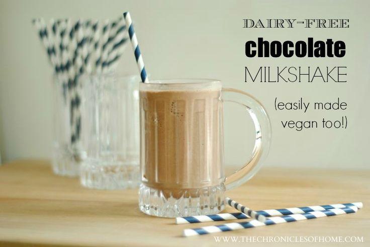 A dairy-free (healthy!) chocolate milkshake.  Easy to make vegan too!