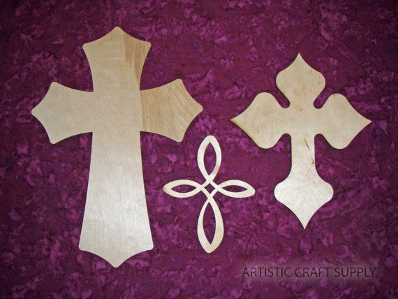 Unfinished Wood Layered Crosses Stacked by ArtisticCraftSupply