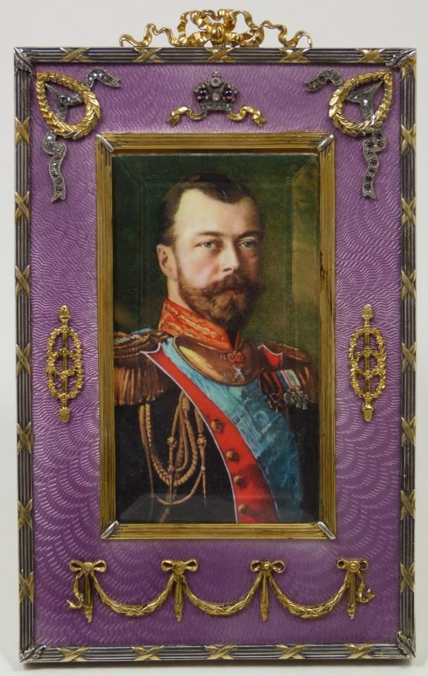 Russian silver guilloche jeweled picture frame with portrait. Has purple enameled guilloche design with columnar border and mounted wreaths and ribbon work.