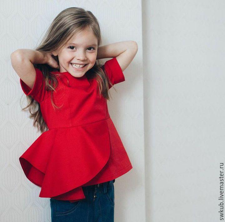 Blouse for a girl | Купить Красная кофта для девочки. - ярко-красный, однотонный, кофта, кофта детская, кофта для девочки