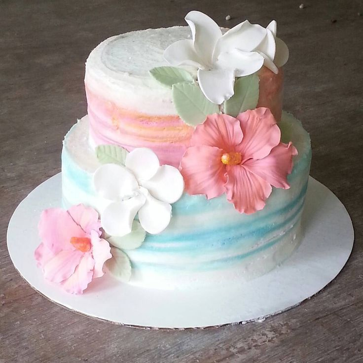 Ombre watercolor buttercream cake with gum paste hibiscus flowers