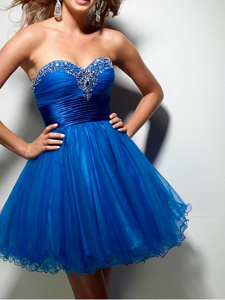 Luxury Sweetheart Short A-Line Royal Blue Tulle and Dark Royal Blue Satin Sash Party Dresses