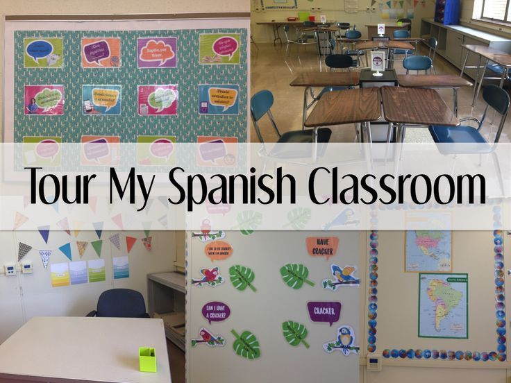 Spanish classroom set-up and decorations. Free downloadable posters.