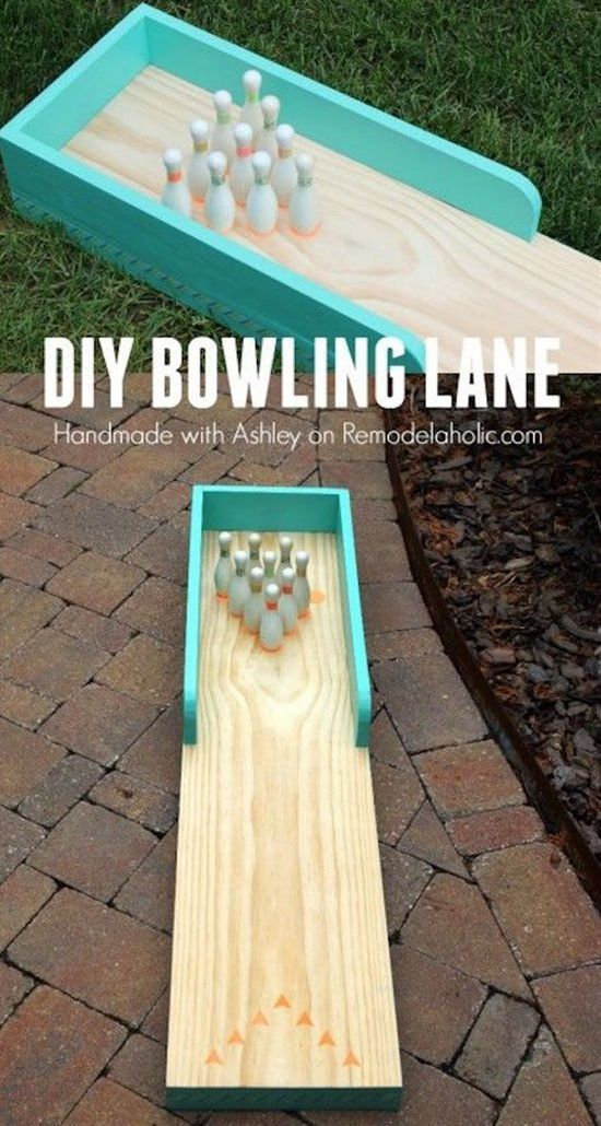 DIY Indoor-Outdoor Bowling Lane Tutorial via Remodelaholic - a great DIY project that you and the family can use indoors now, and then move outdoors once it warms up outside: an adorable indoor-outdoor bowling lane!""