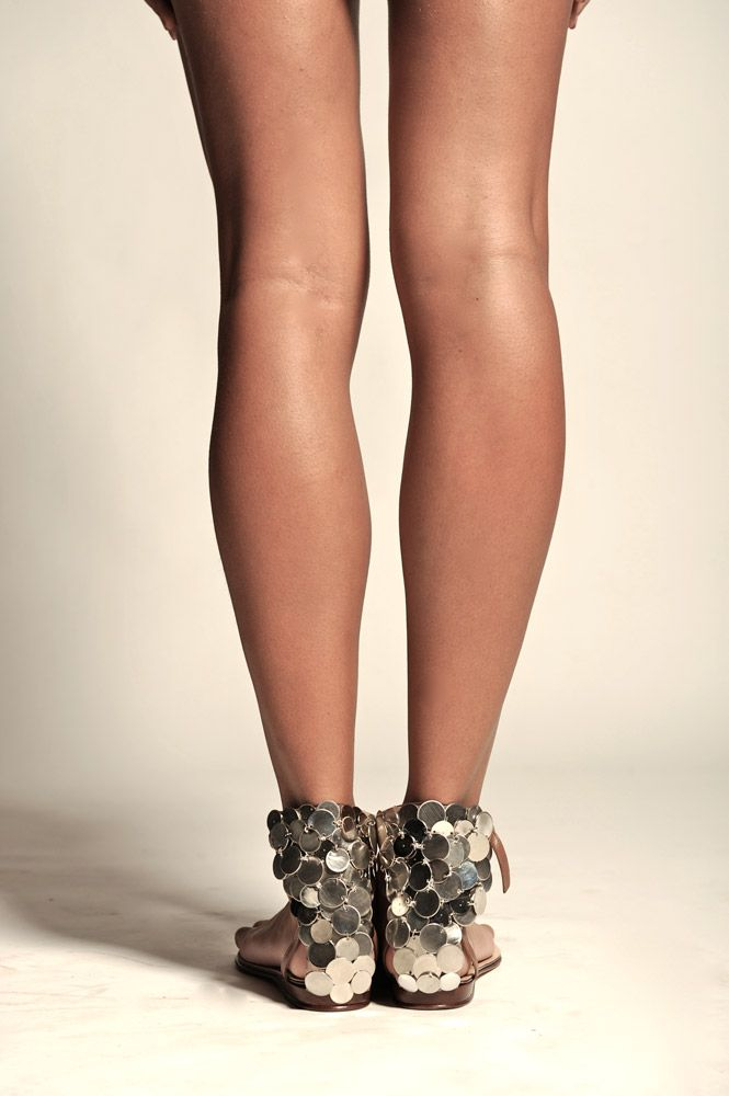 "This ""barely there"" sandal has either silver or gold coins embellished on the back heel.  Looks like it would easy to DIY"