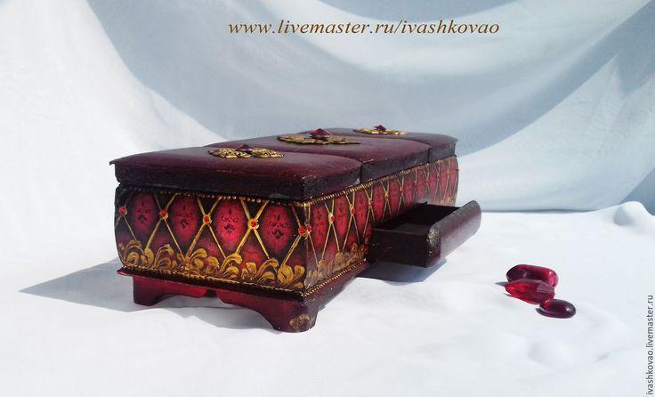 Купить Шкатулка Яхонтовая - бордовый, шкатулка, шкатулка для украшений, шкатулка ручной работы, шкатулка-триптих