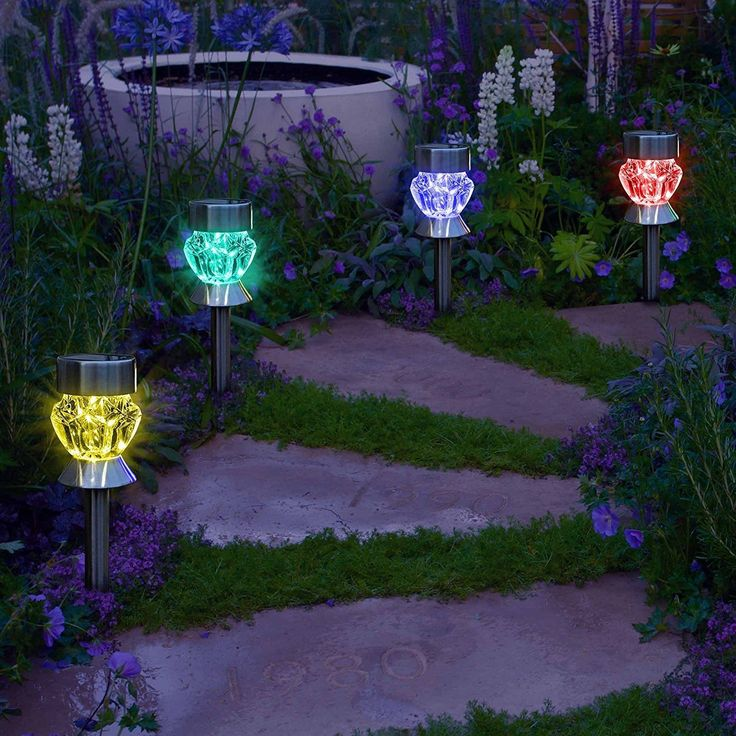 Solar Path Lights Outdoor Diamond Shaped Sparkling Color Changing Pathway  Walkway Decoration Landscape Lighting For Garden