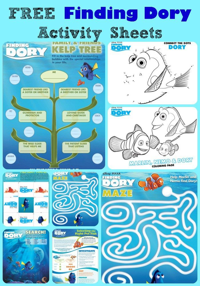 Free & printable Finding Dory activity sheets - Perfect for road trips or long flights!
