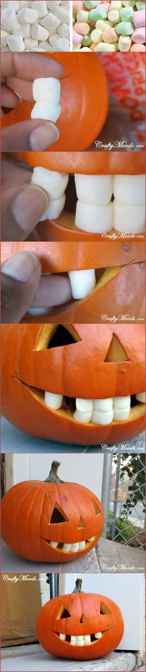 FUNNY Marshmallow Teeth Jacko-Lanterns.  This is so kooky but it really looks great!