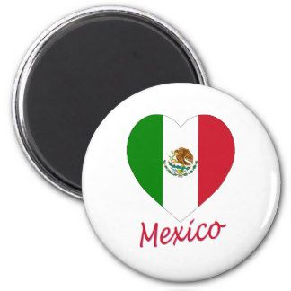 Mexiko-Flaggen-Herz Runder Magnet 5,7 Cm