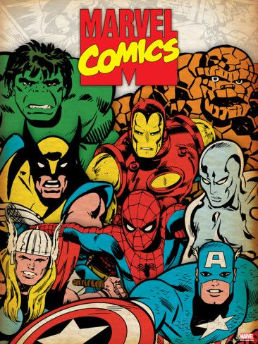 Marvel Comics Retro: Hulk, Thor, Spider-Man, Wolverine, Captain America, Iron Man and Silver Surfer Affiches sur AllPosters.fr