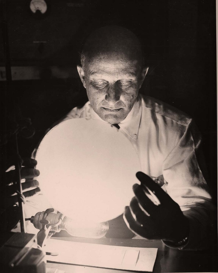 Lewis Koller in the GE Research Lab working with luminous powders to improve brightness and clarity of television screens in the early 1950s.