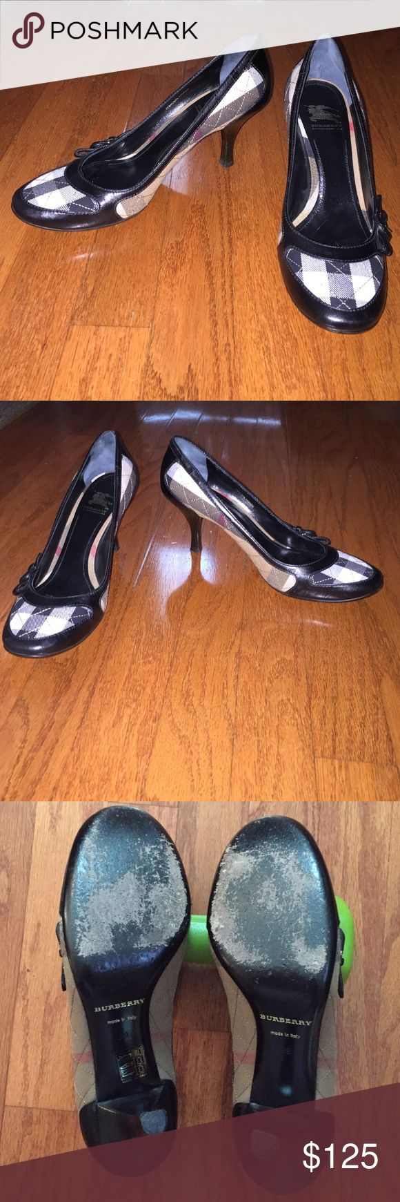 Burberry heels size 9, fits more like an 8.5 Gently worn Burberry heels. Only real sign of wear is on the bottom at the ball of the foot. The shoes say Euro size 39 (US size 9) but they fit more like a US size 8.5 Burberry Shoes Heels