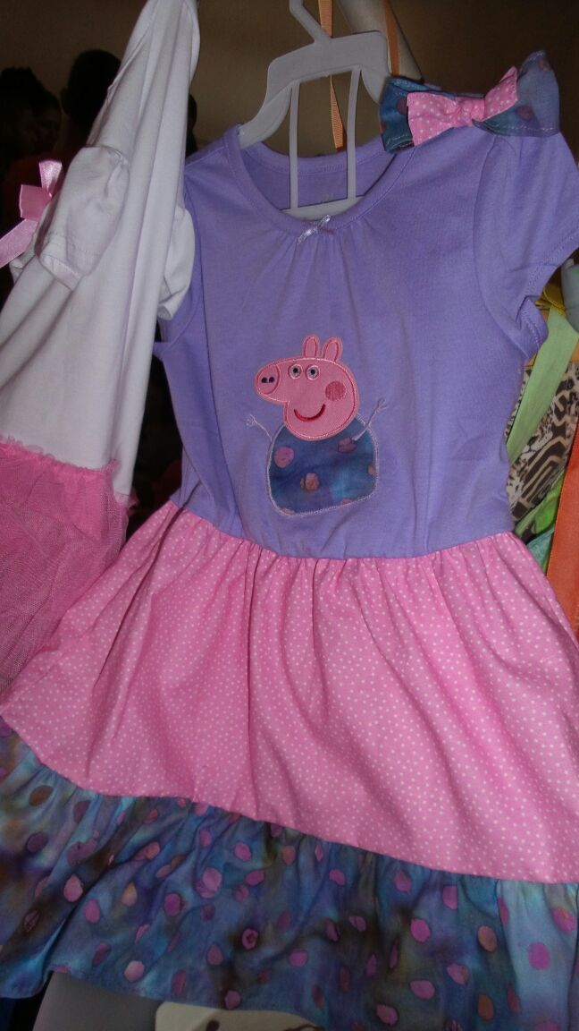 lavander cotton peppa pig dress