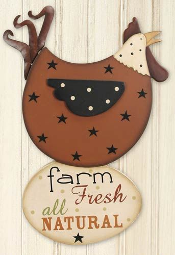 $2.99 sale, wood and metal chicken sign